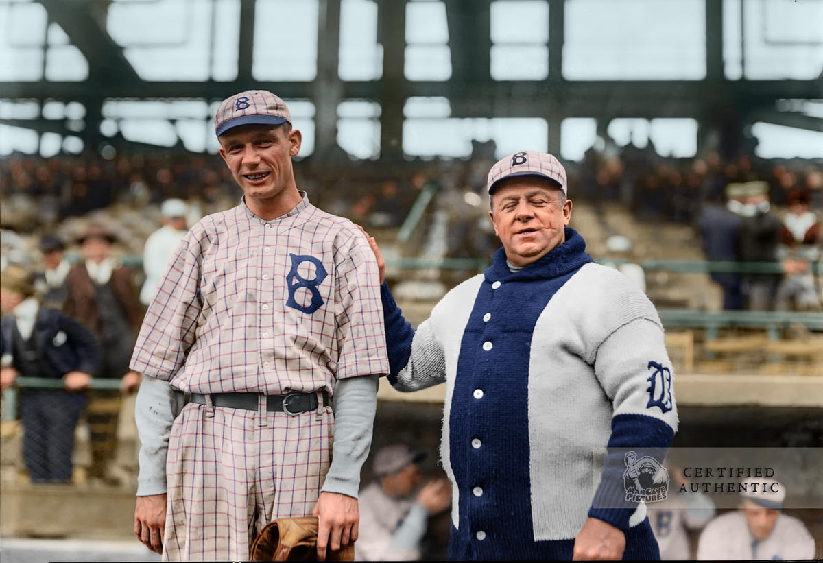 Rube Marquard (SP) & Manager Wilbert Robinson. National League Champion Brooklyn Robins (1916)