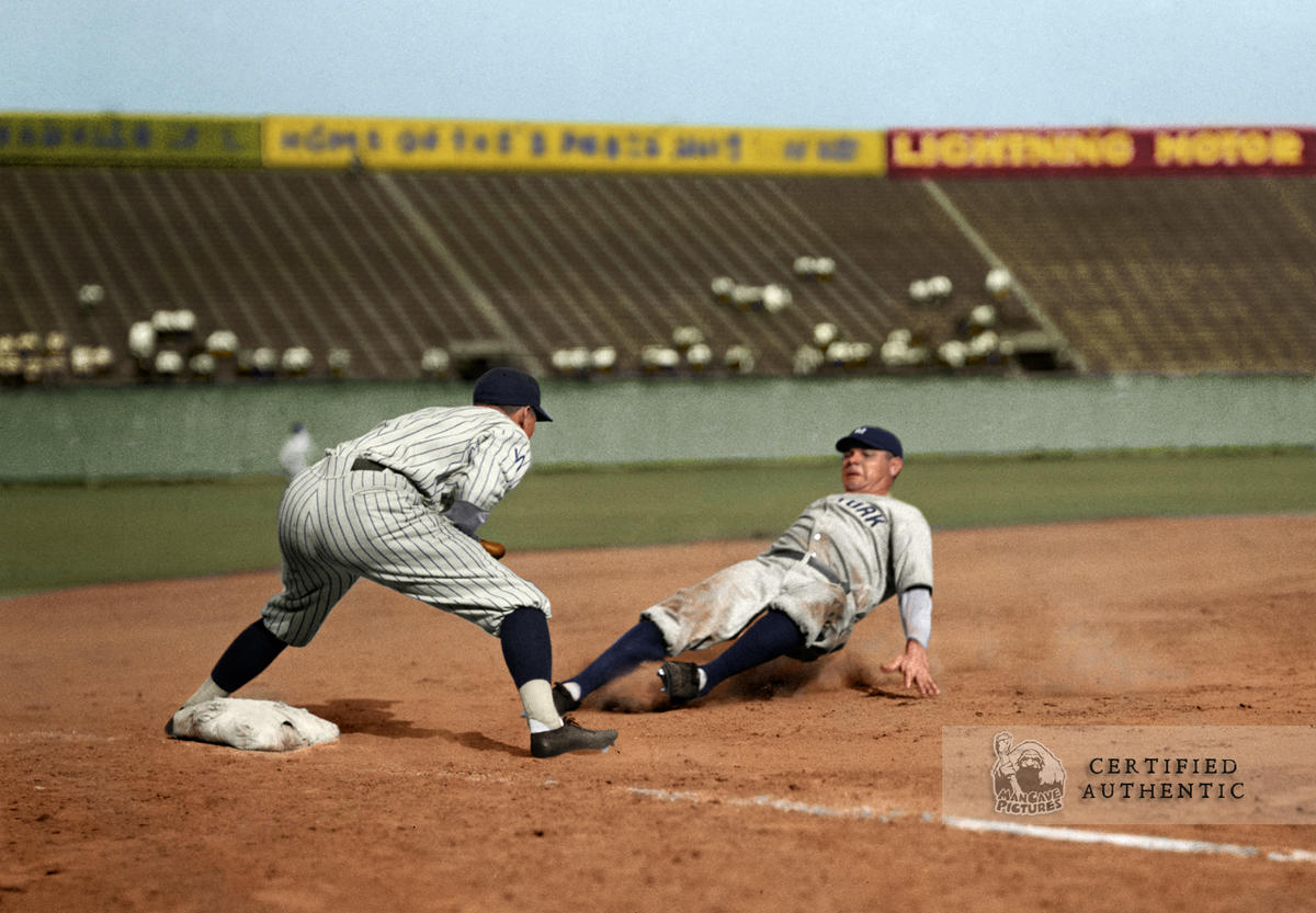 Babe Ruth Sliding - New York Yankees (1925)
