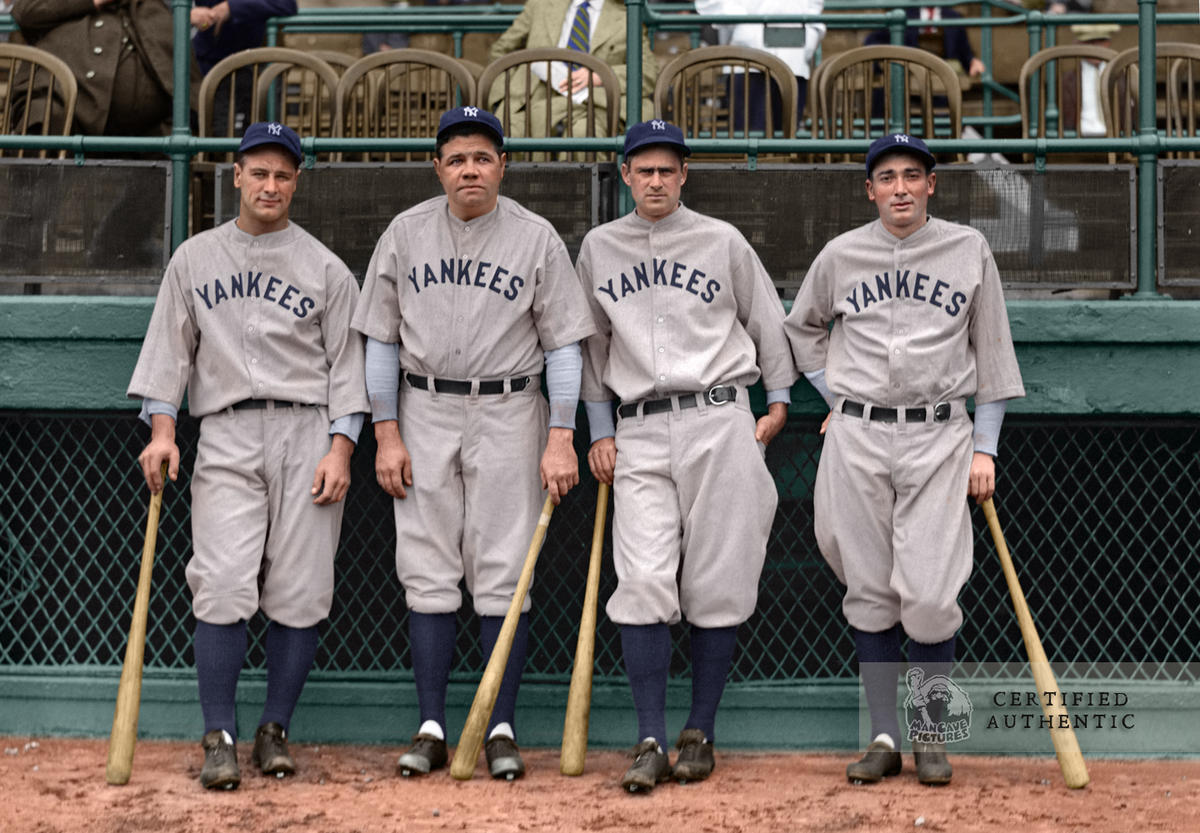 Lou Gehrig, Babe Ruth, Earle Combs, and Tony Lazzeri - Yankees Murderer's Row 1927 © 1927 Leslie Jones