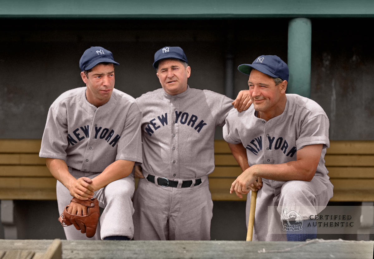 DiMaggio, McCarthy, and Gehrig - New York Yankees (1937). Original B&W © 1937 Leslie Jones