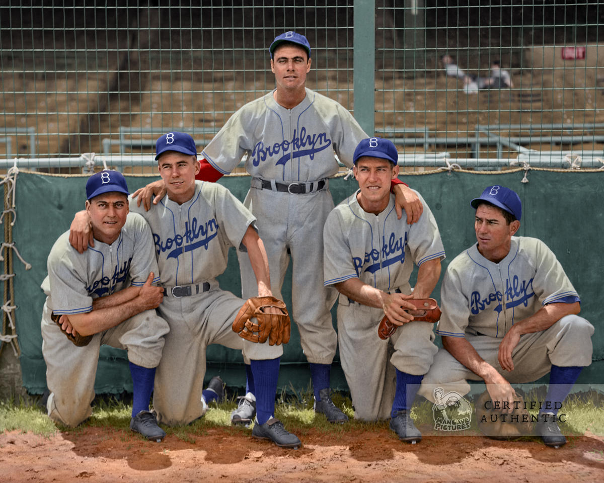 Herman, Reese, Higbe, Reiser, and Owen - Brooklyn Dodgers (1941). Original B&W Photo © 1941 Leslie Jones