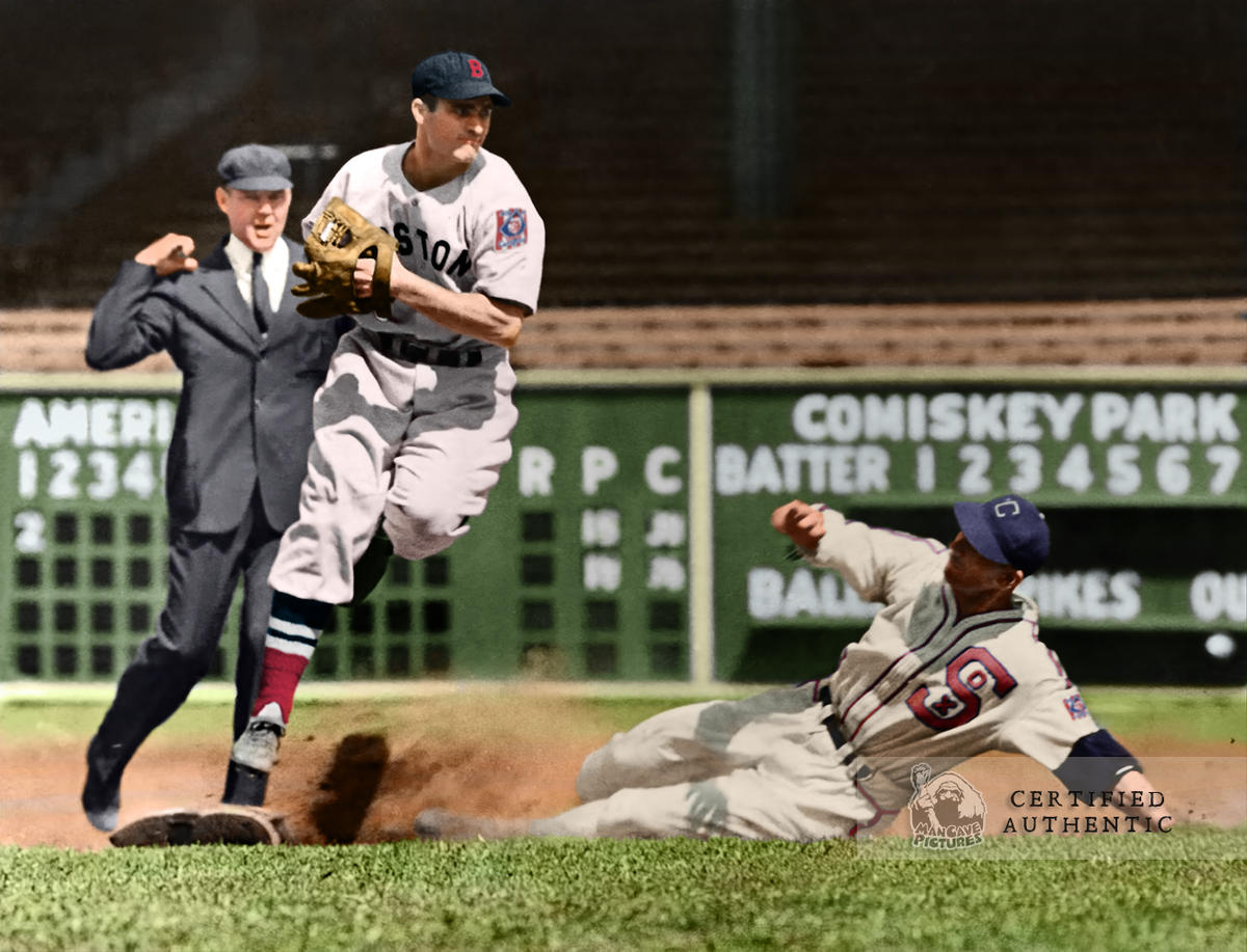 Bobby Doerr of the Red Sox Turning 2 vs. Luke Appling and White Sox (1939)