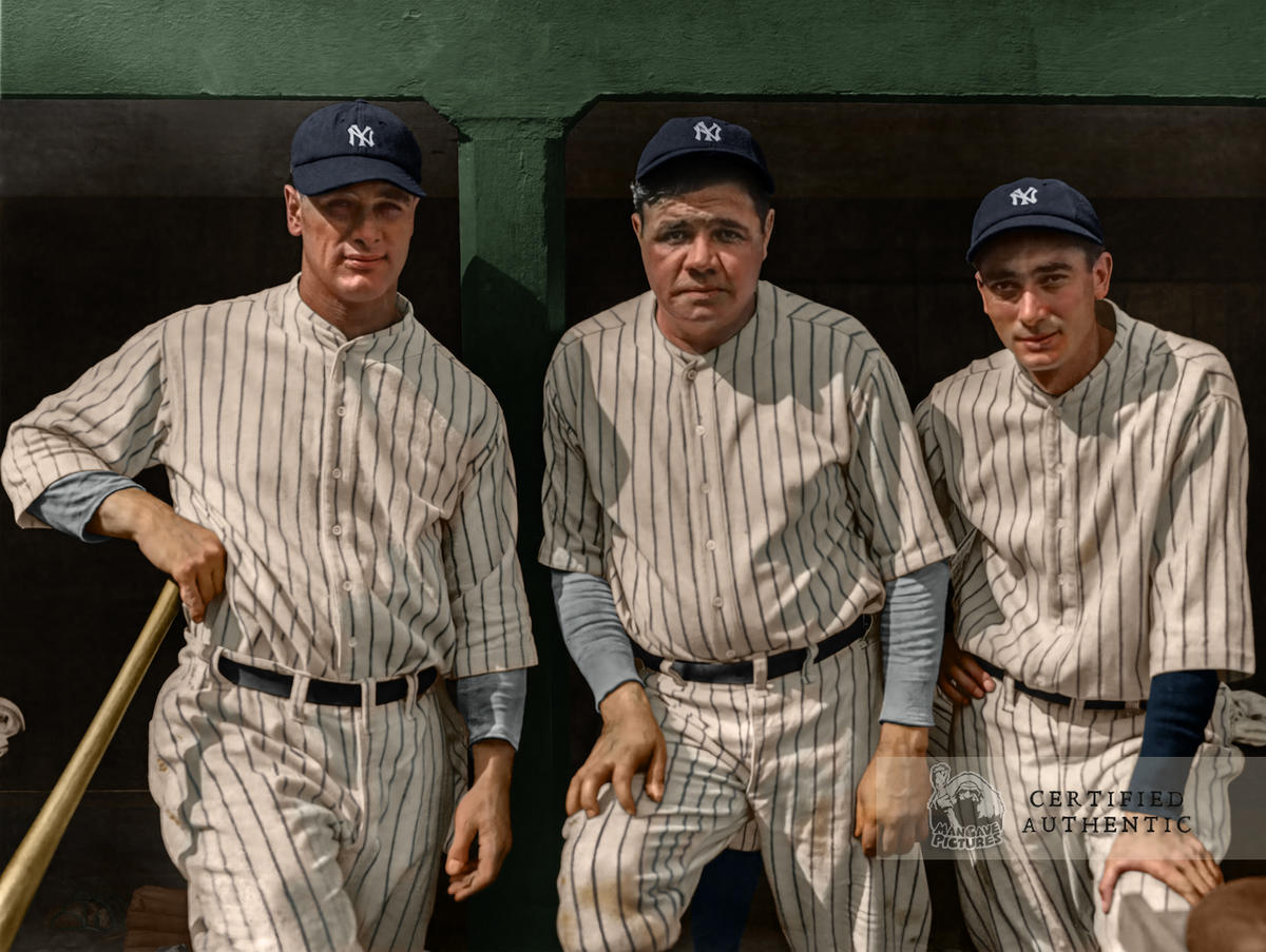 Lou Gehrig, Babe Ruth, and Tony Lazzeri - New York Yankees (1927)