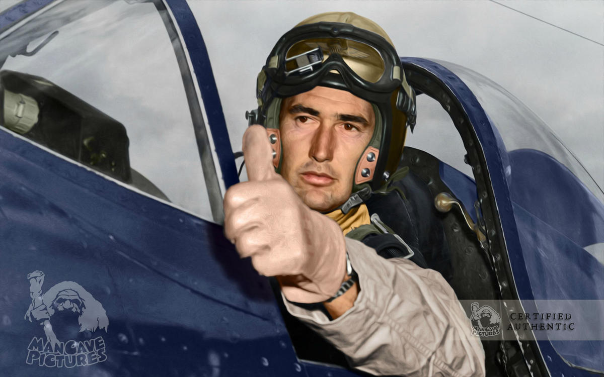 Marine Corps Captain Ted Williams in the cockpit of his F4U Corsair (1952)