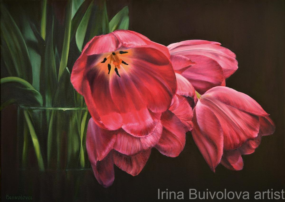 Tulips bouquet still life oil on canvas size 50 70 cm