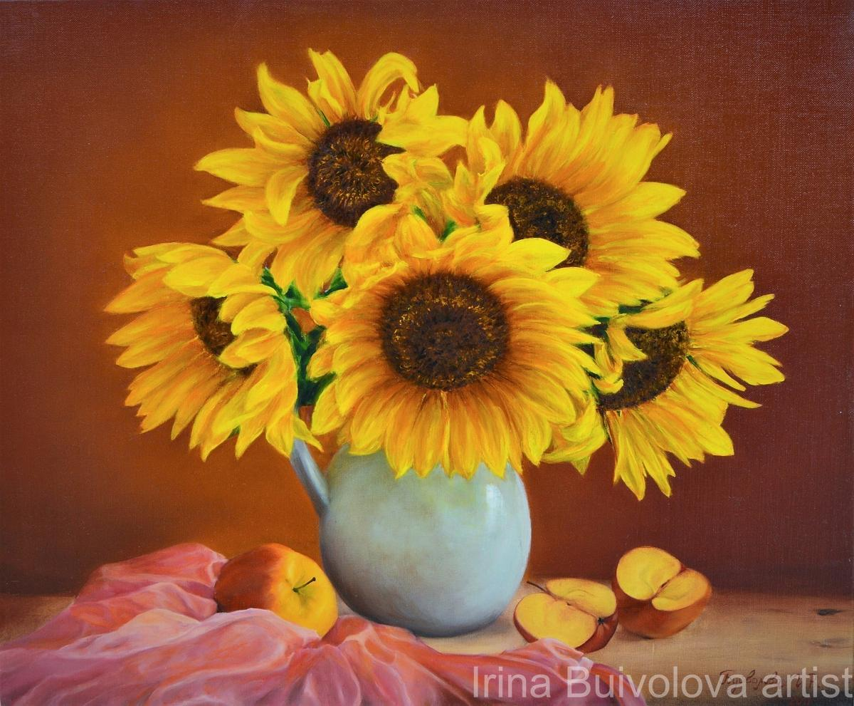 Vase with sunflowers painting, oil on canvas size 50 60 cm