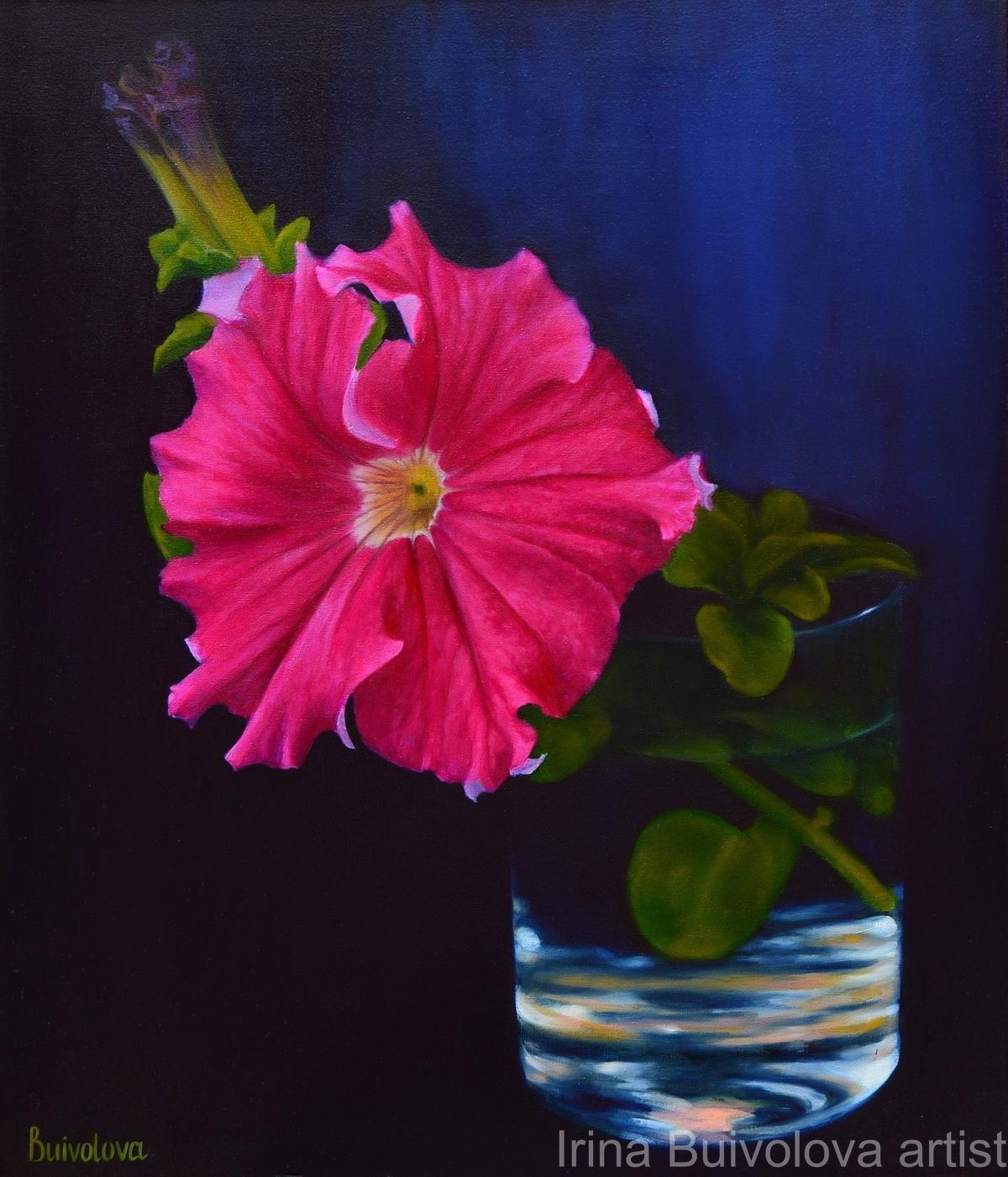 Crimson petunia painting, oil on canvas size 60 70 cm
