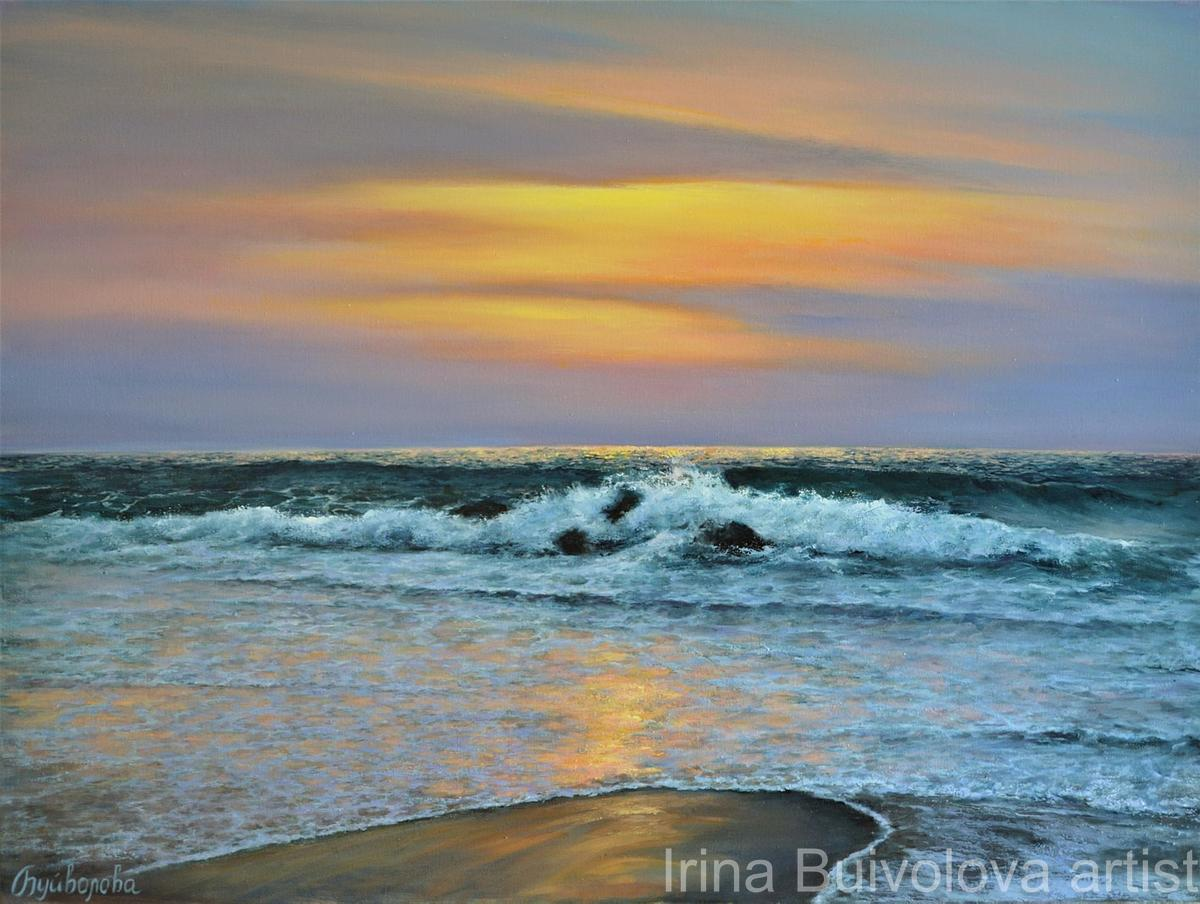 Sunset surf painting, oil on canvas size 60 80 cm
