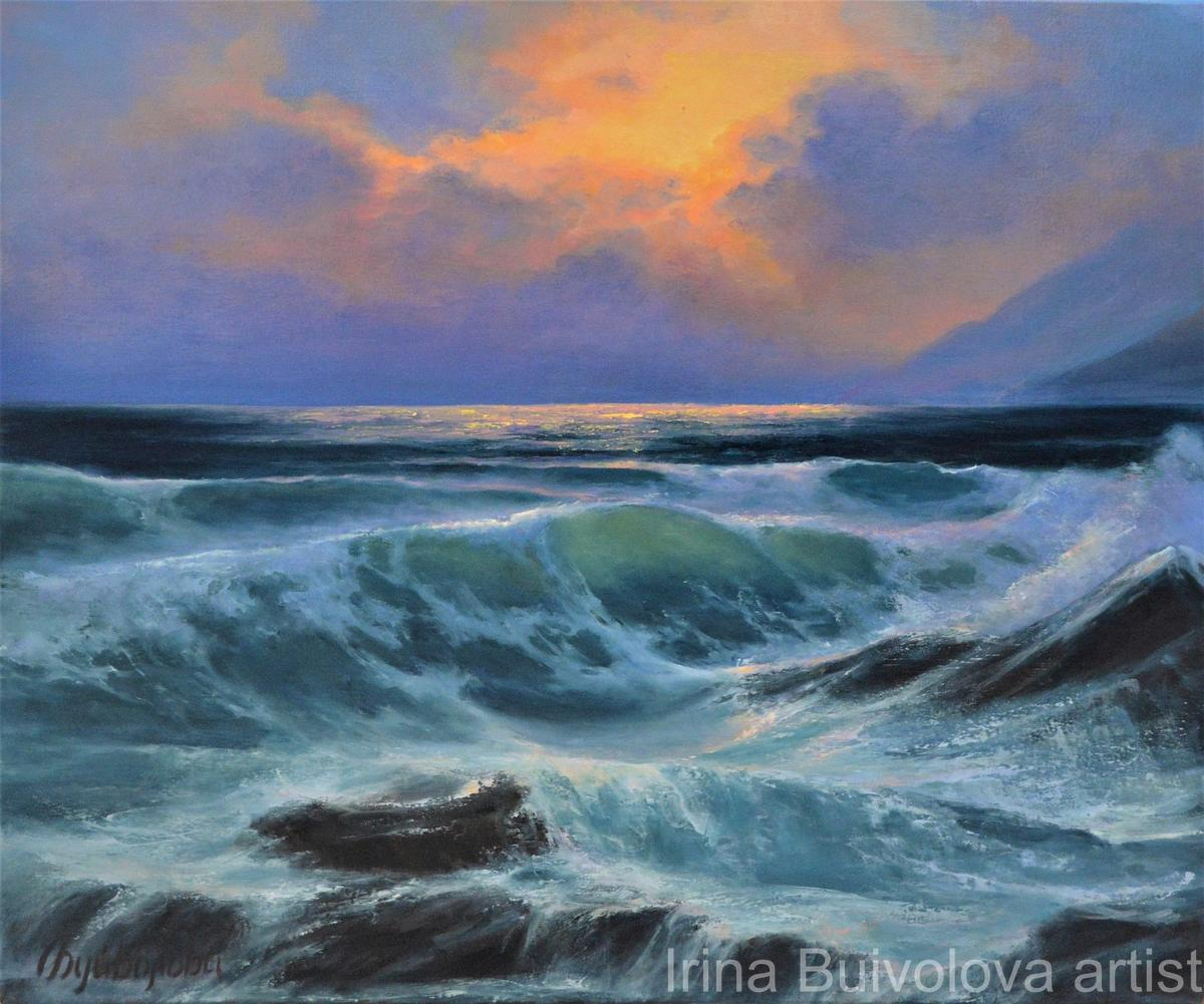 Sunset wave painting, oil on canvas size 50 60 cm