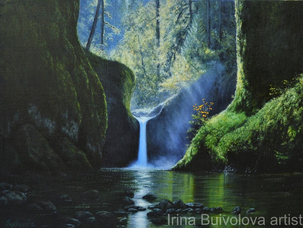 Waterfall in the forest painting, oil on canvas size 75 100 cm