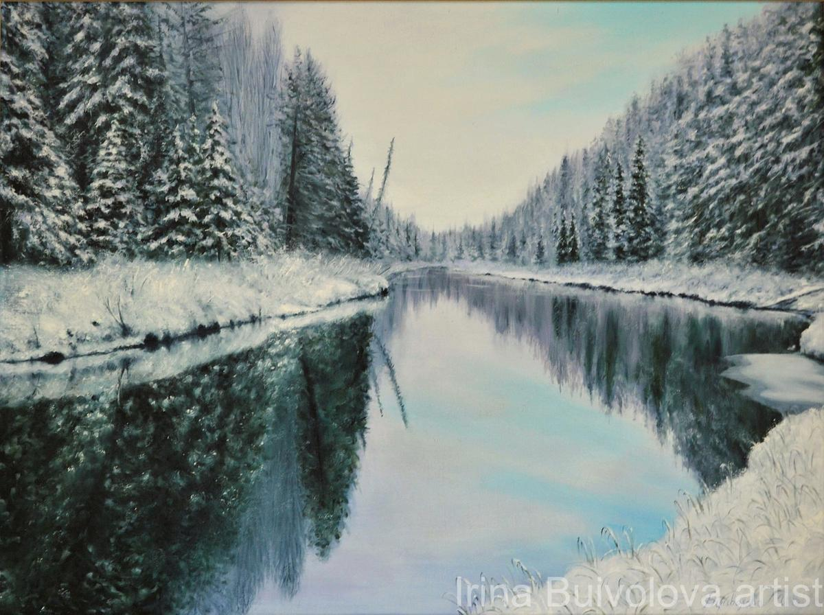 Sky in the river painting,  oil on canvas size 60 80 cm
