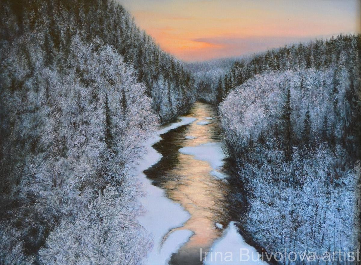 Taiga winter painting, oil on canvas size 60 80 cm