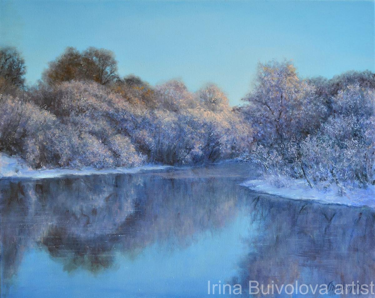 Blue lake painting, oil on canvas size 40 50 cm