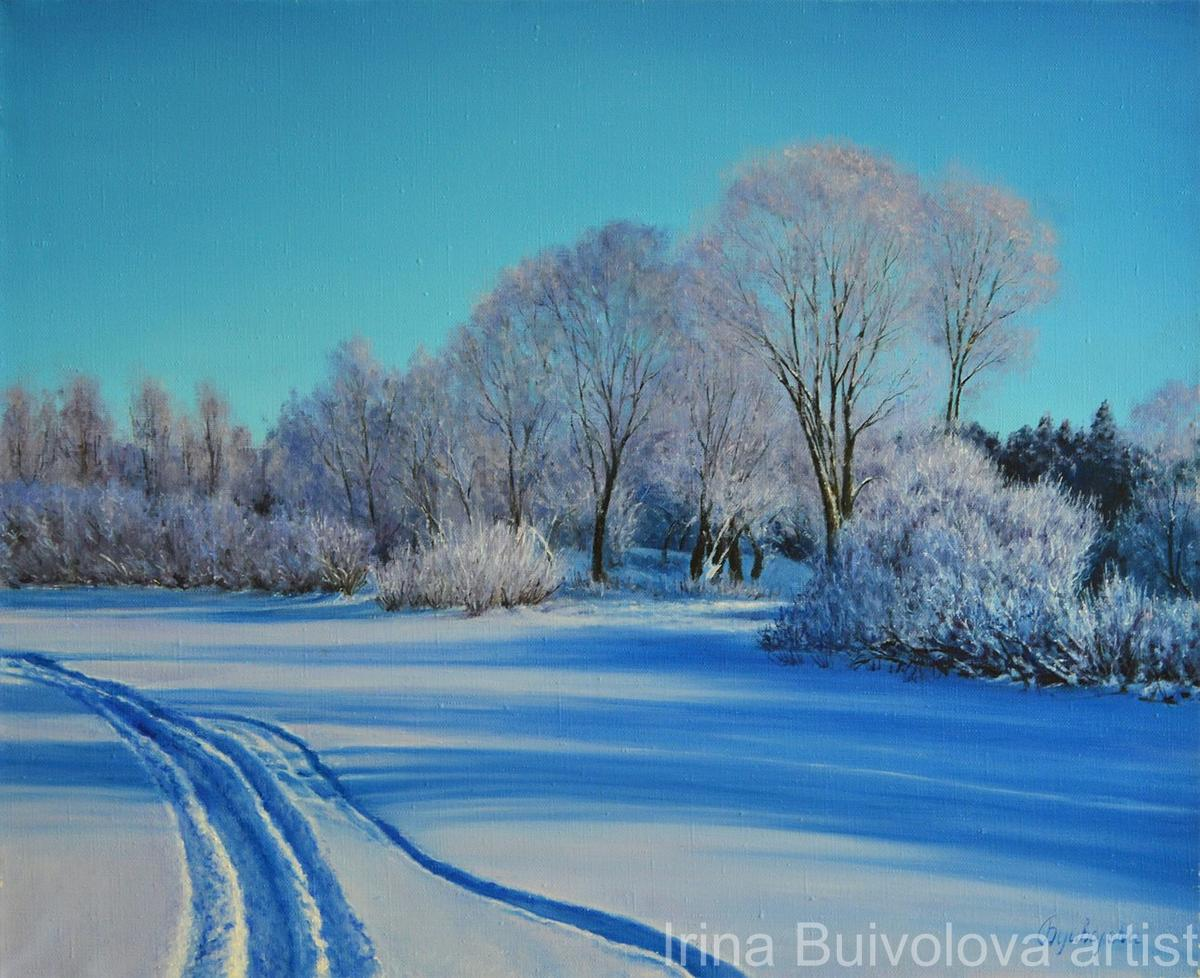 Winter road painting,  oil on canvas size 45 55 cm