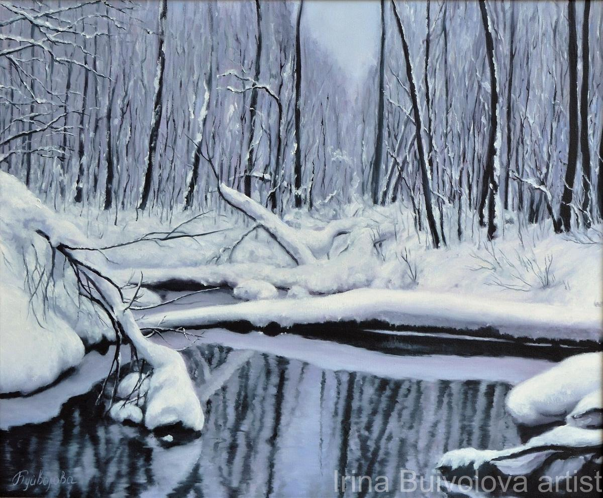 Purple snow painting,  oil on canvas size 50 60 cm