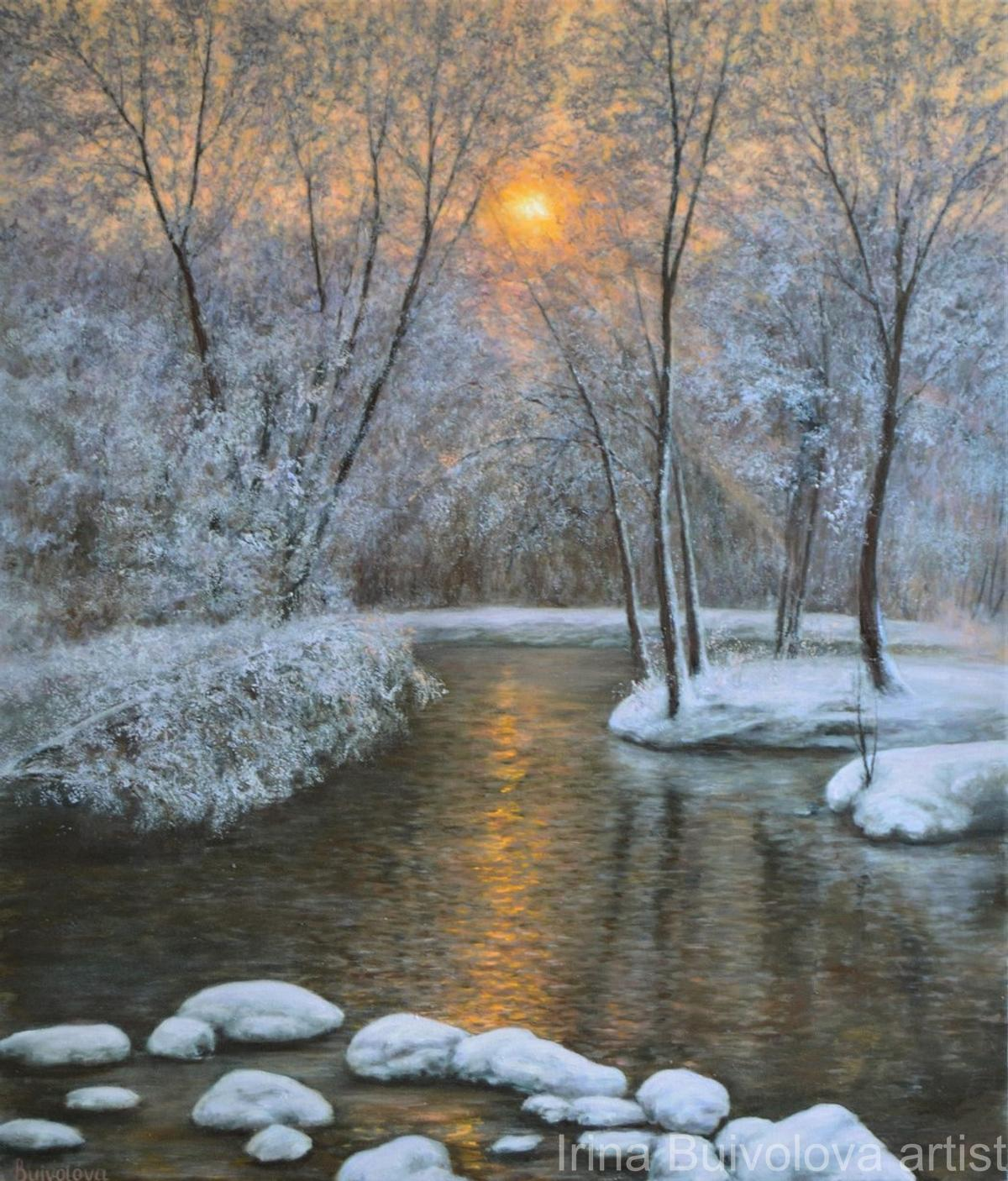 Winter pond painting,  oil on canvas size 60 70 cm