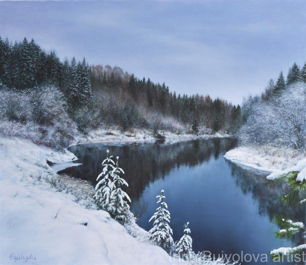 Winter river painting,  oil on canvas size 60 70 cm