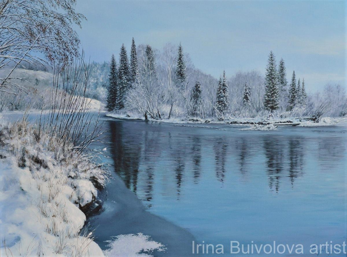 Winter lake painting,  oil on canvas size 60 80 cm
