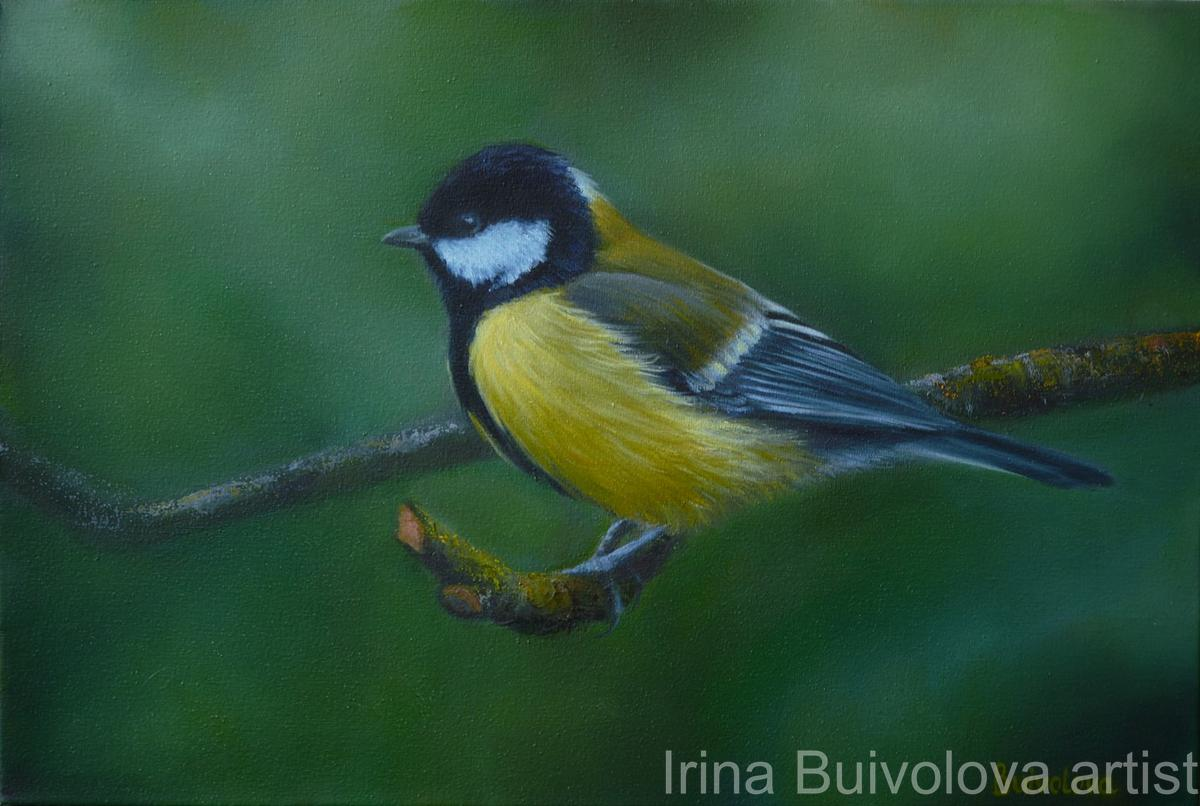 Titmouse in the forest, painting, oil on canvas size 30 45 cm