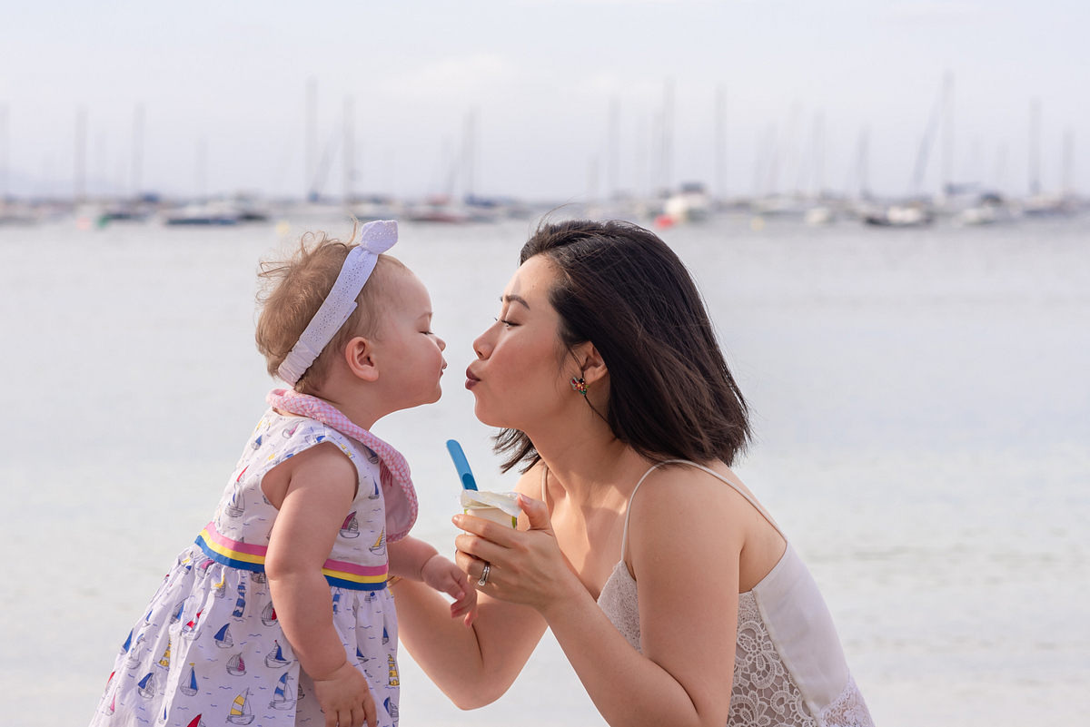 Mom and daughter love. Family photoshoot at Puerto Pollensa. Mallorca. Balearic Islands.