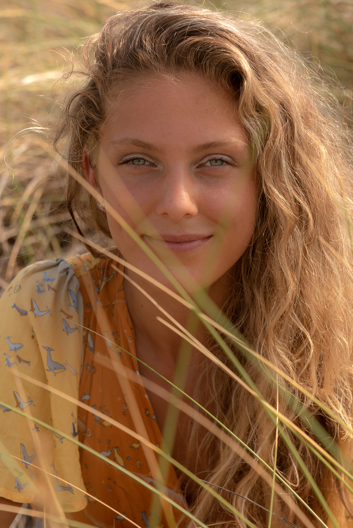 A lioness with beautiful smile. Portrait session at the beach in Son Serra de Marina. Balearic Islands