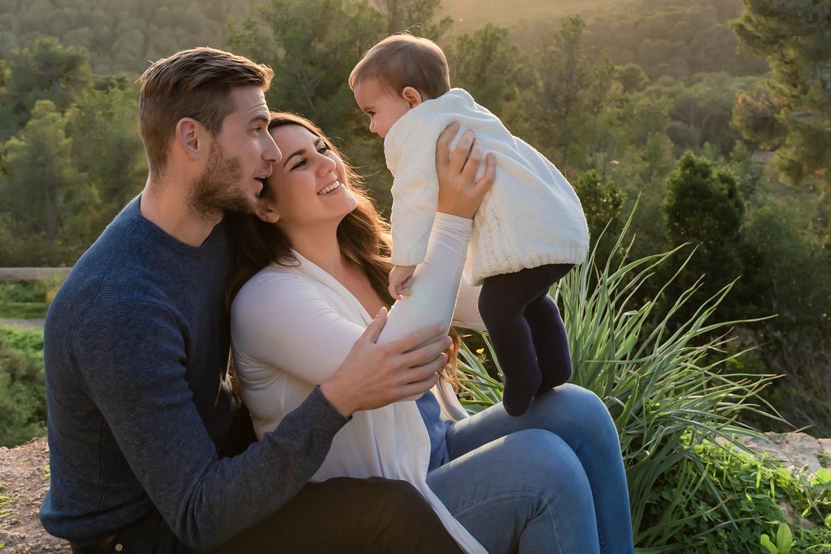 Little sunshine. Family photoshoot at Castell de Bellver. Palma de Mallorca. Balearic Islands.