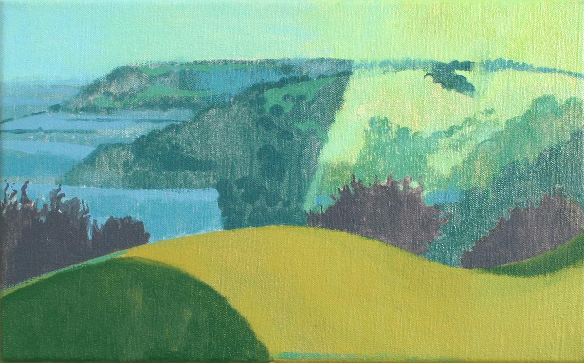 Sunrise from Christmas Common towards Aston Rowant, oil on canvas