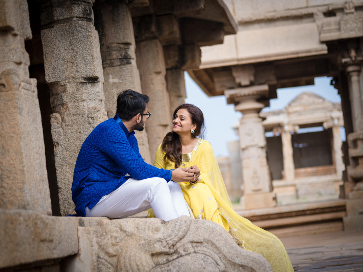 Amritha and Rohit in Hampi Karnataka