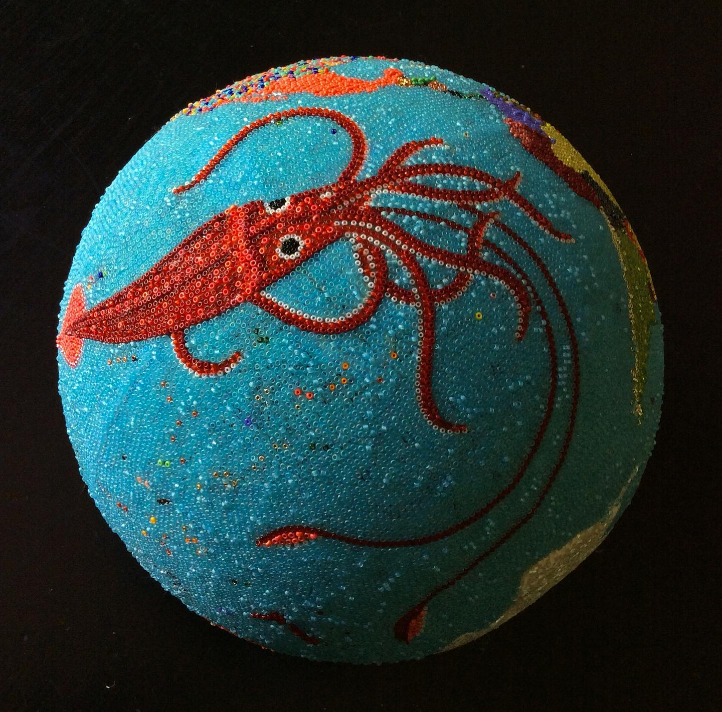 Beaded Globe, Pacific Ocean Giant Squid