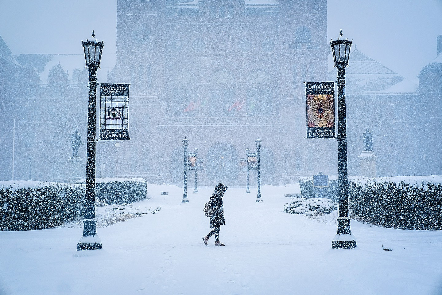A woman is seen walking in front of Queen's Park during a heavy snowstorm, Toronto, February 27, 2019.