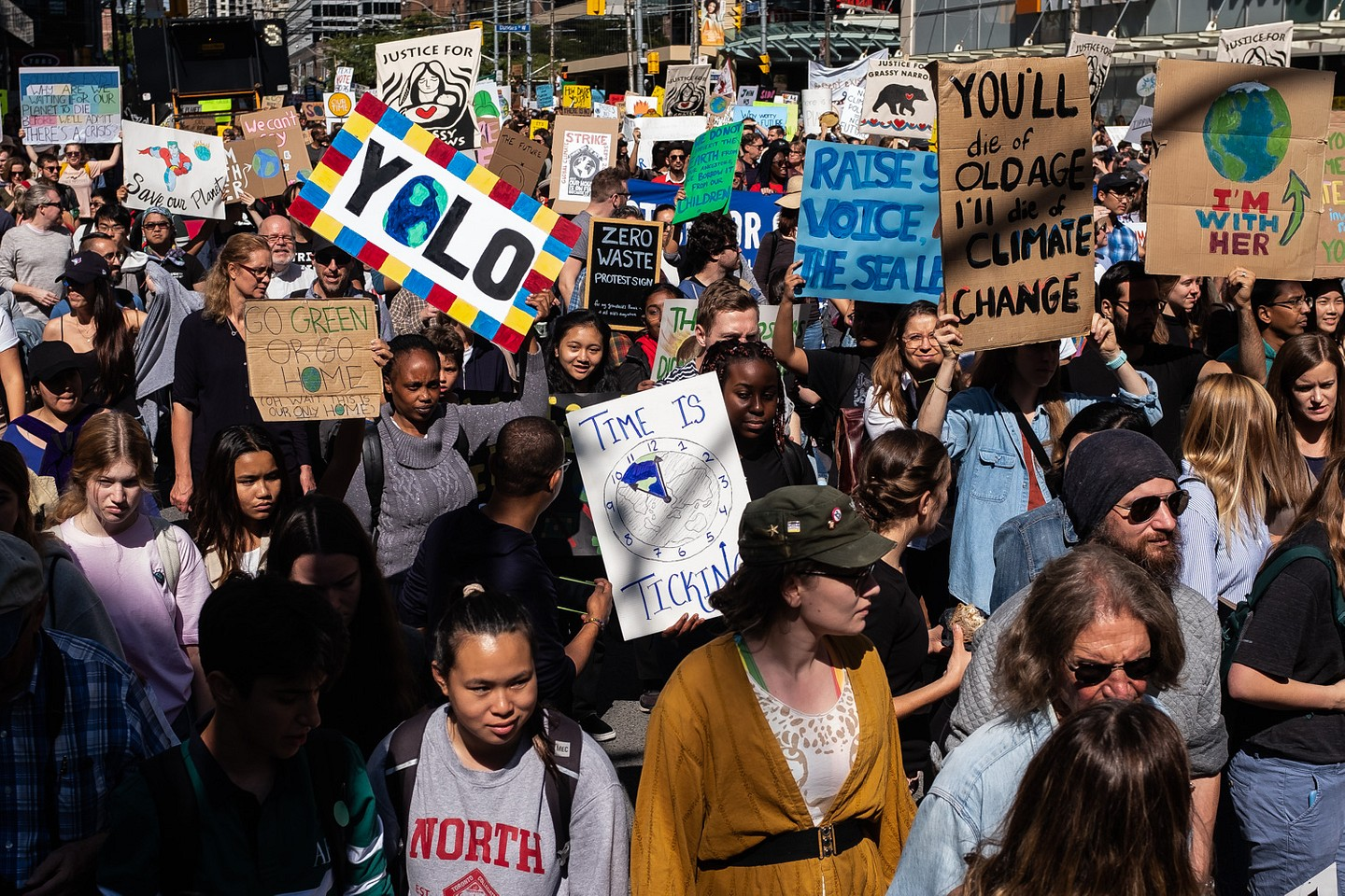 Inspired by teen activist Greta Thunberg's 'Fridays For Future' movement, thousands toke the streets of Toronto to draw attention to the world's lack of action on climate change, September 27, 2019. The same march also happened in more than 80 Canadian cities and in many countries around the globe.
