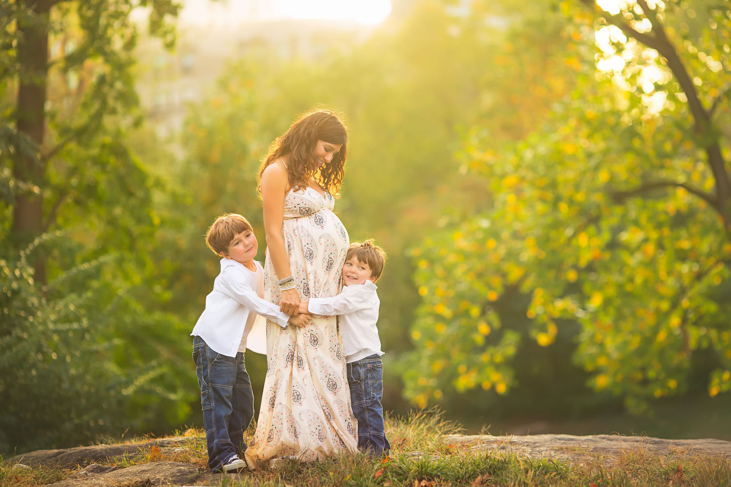 Glowing central park maternity + family session