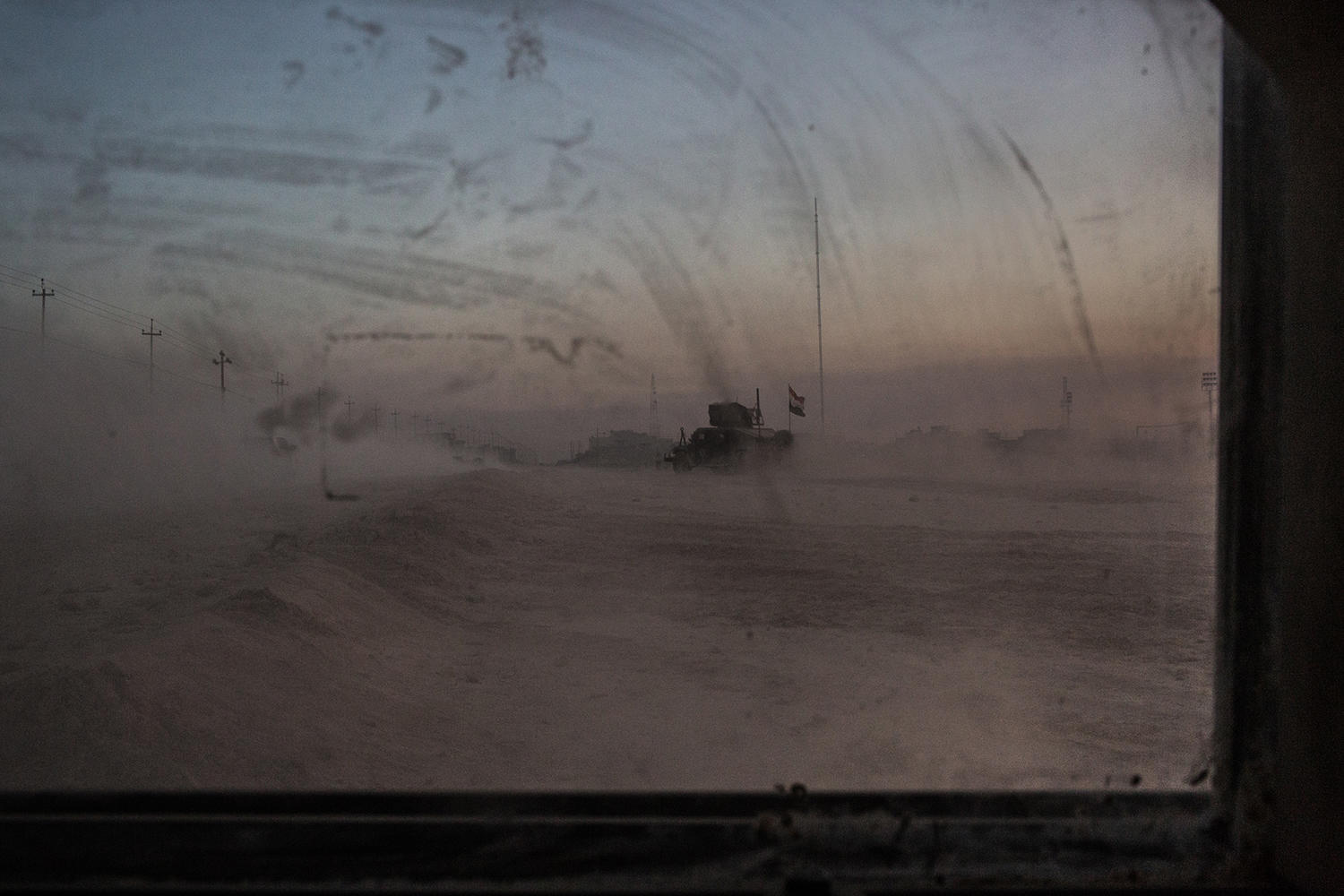 The view from iraqi army humvee in Mosul.