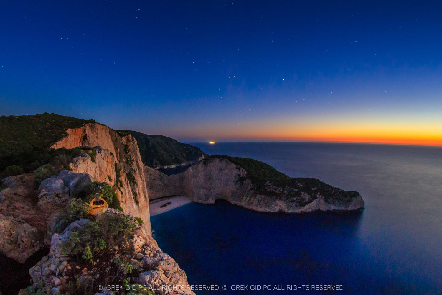 Sunset in Navagio - Shipwreck , Zante - Zakynthos , Greece
