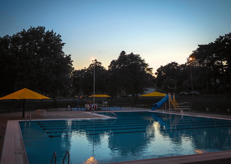Elmwood Park Pool at dusk