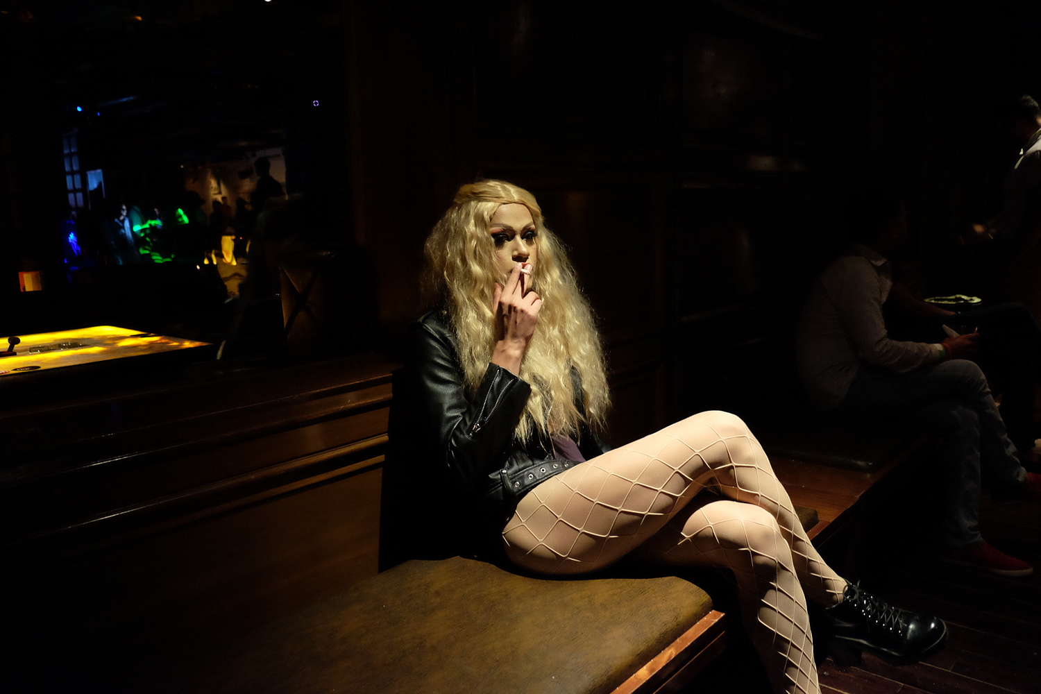 "Prateek as Betta Naan Stop takes a smoke break after a performance. Shot as a part of my documentary photo project series - ""Drag Queens of India""."