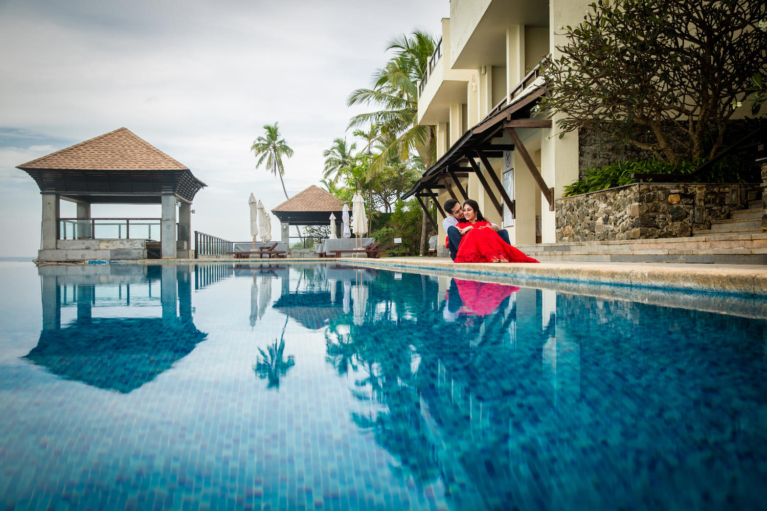 Poolside romantic Prewedding Kerala Kovalam Backwaters destination wedding