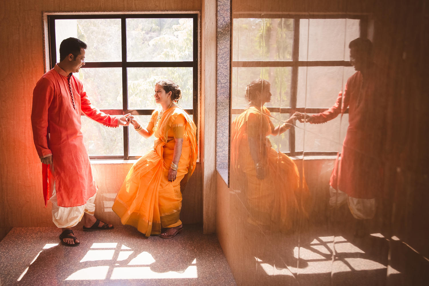 reflection day portraits of just married south indian maharashtrian couple