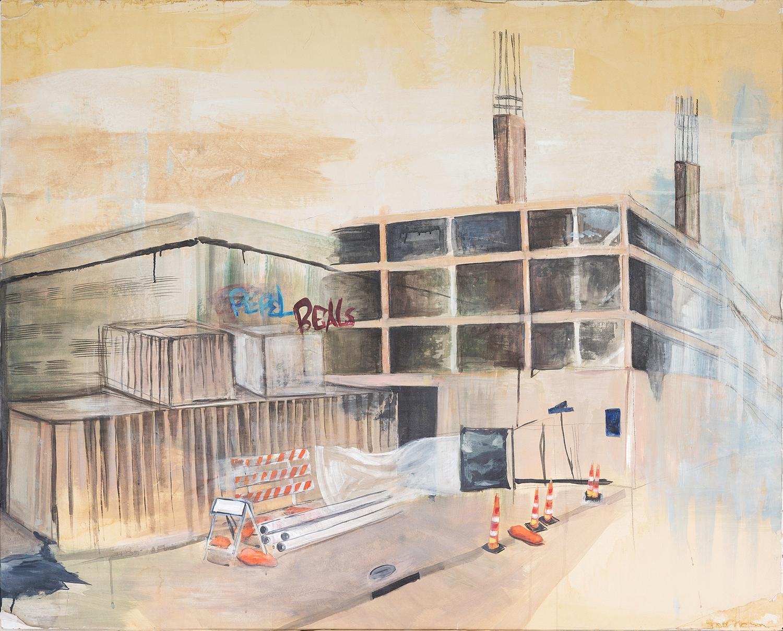"Progress and Regress, 2017, 53"" x 59"", acrylic on paper"