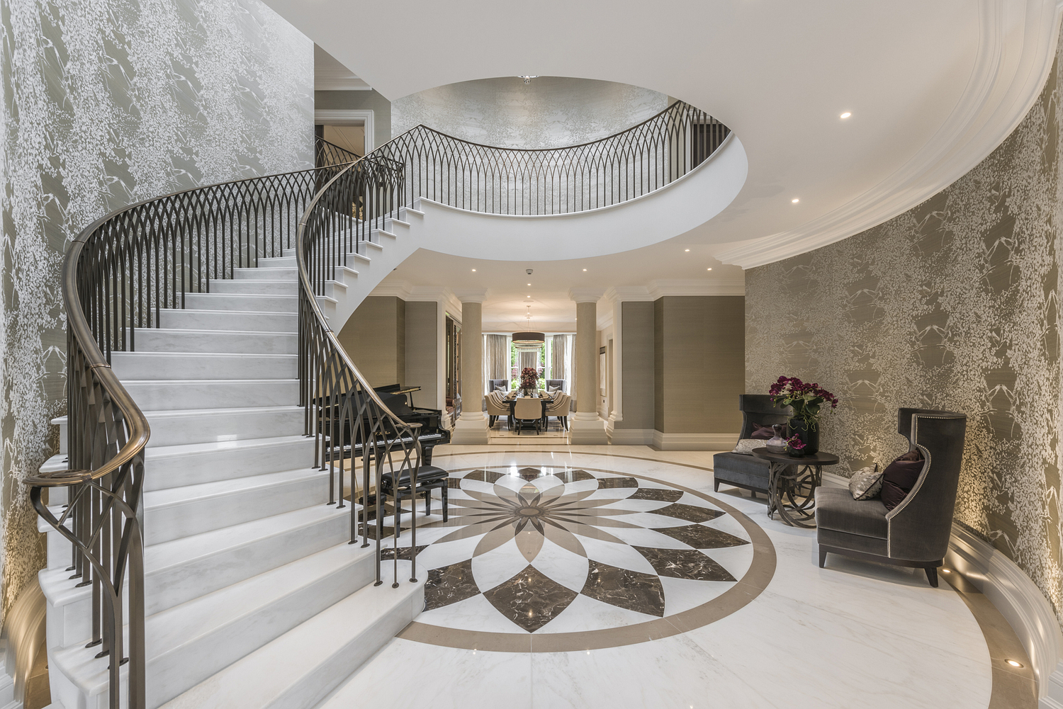 Grand entrance hall with staircase, Surrey house