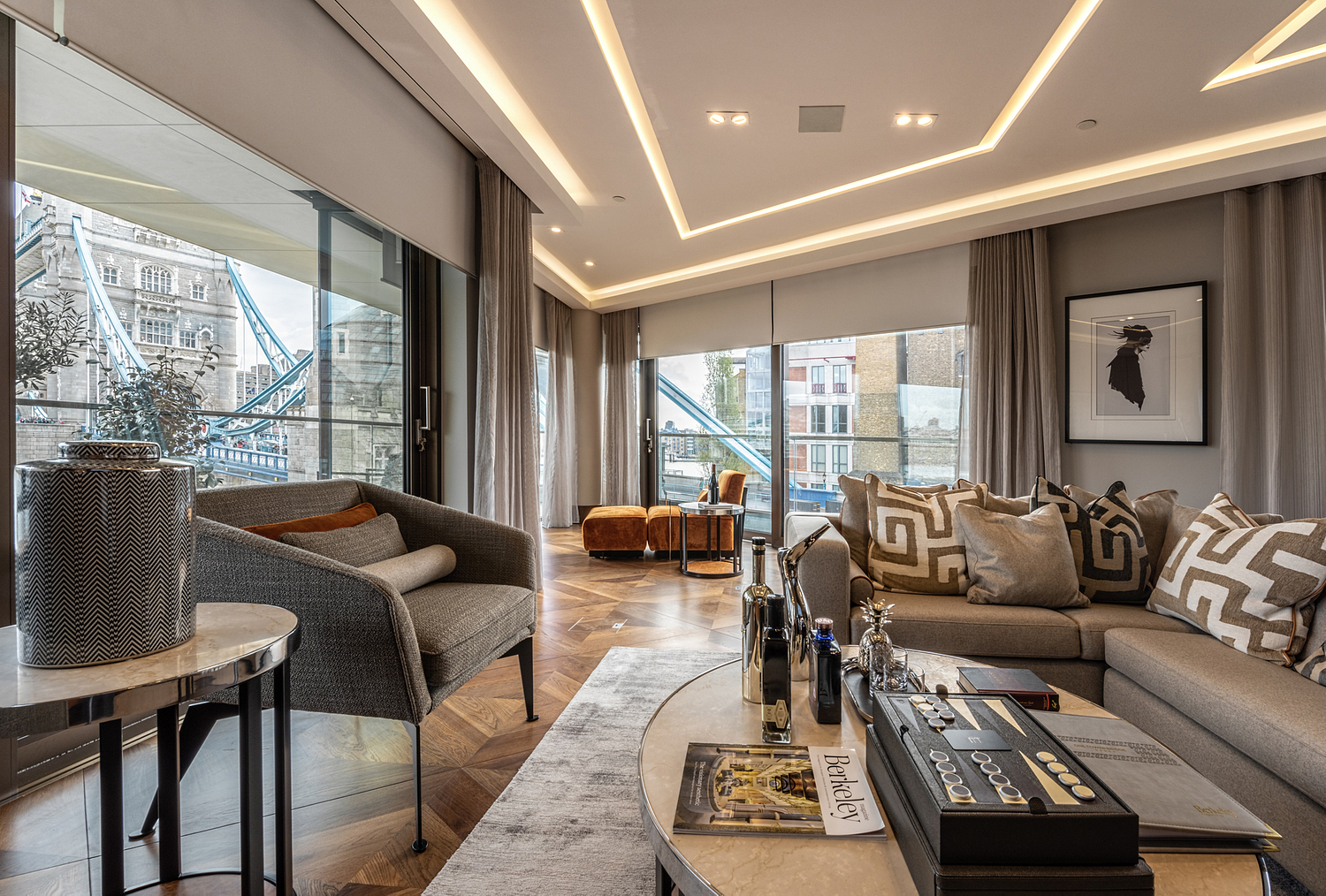 Lounge area, apartment, One Tower Bridge, London