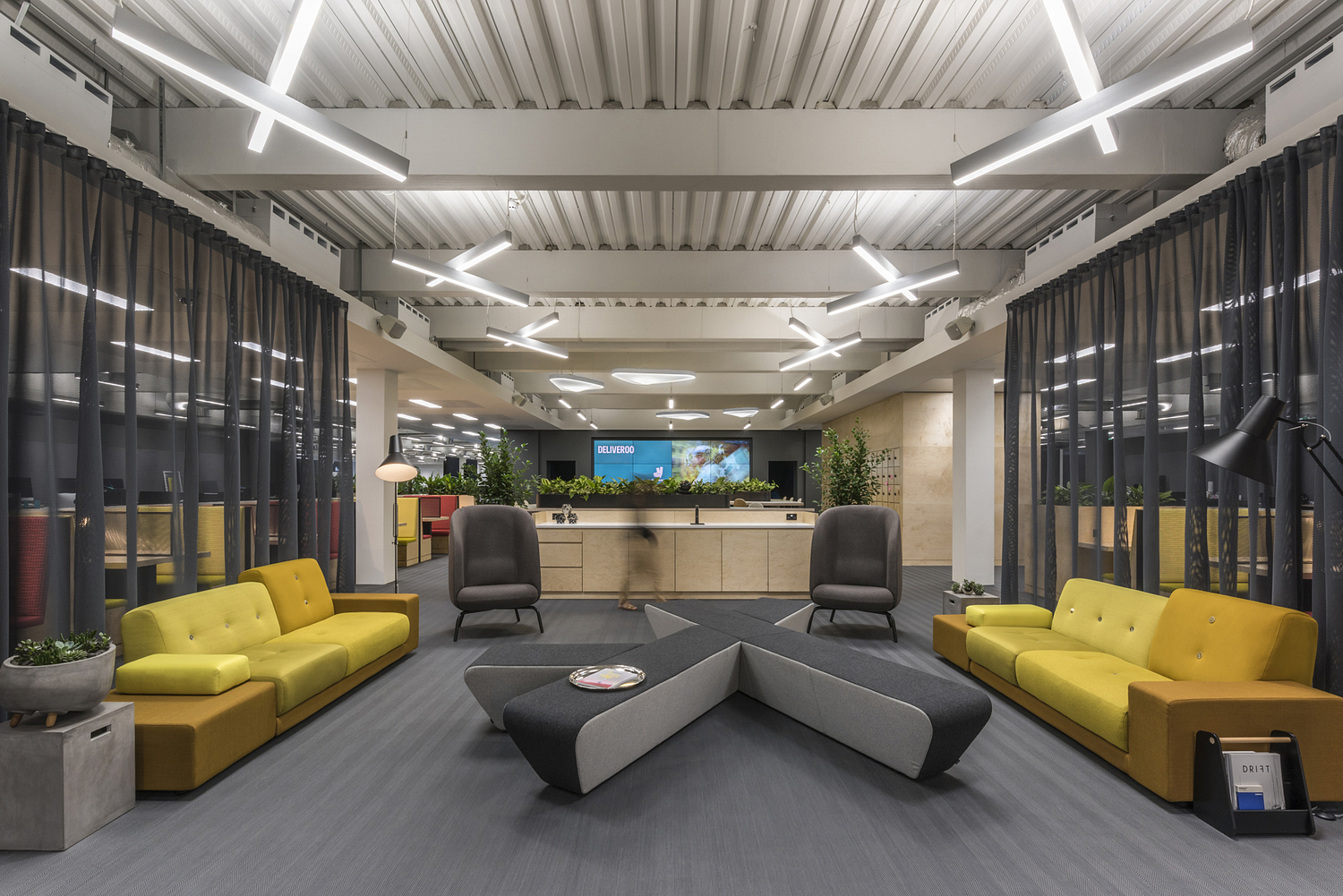 Reception seating area, Deliveroo offices, London