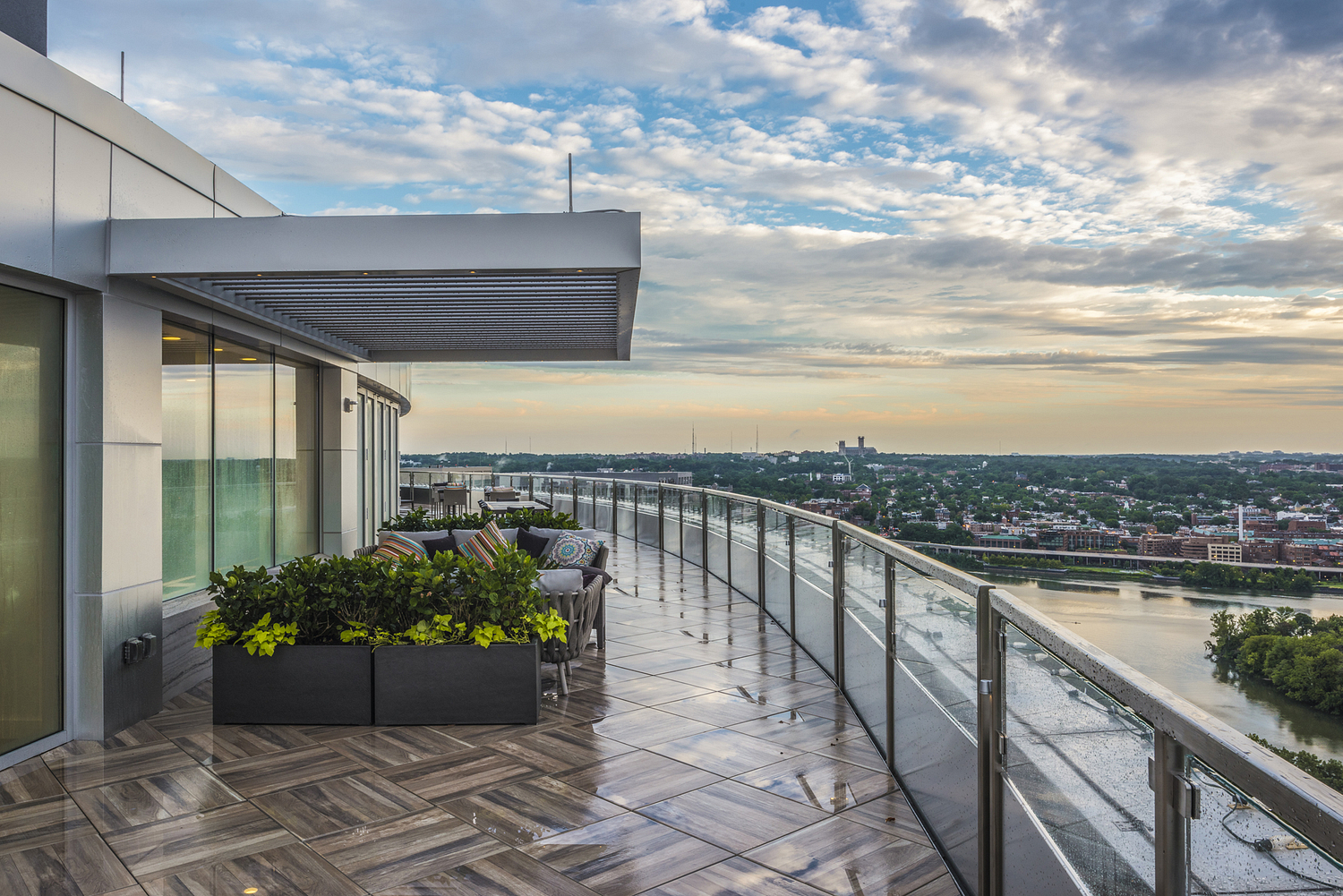 Rooftop breakout area, 32nd floor, commercial office building, Washington DC