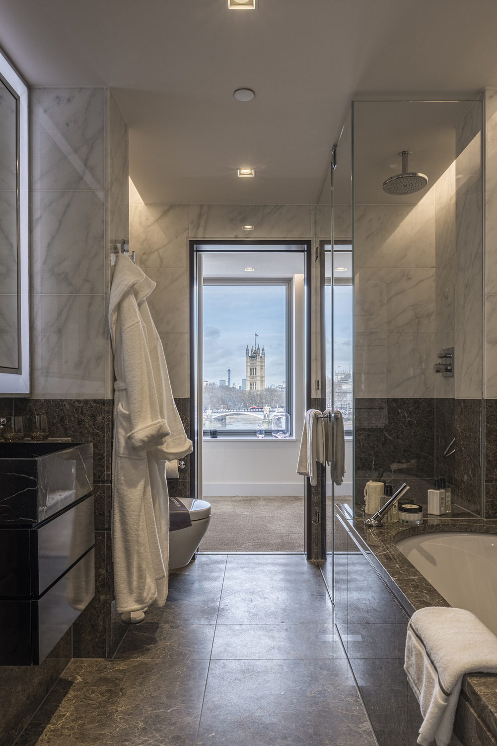 Bathroom detail with view of London