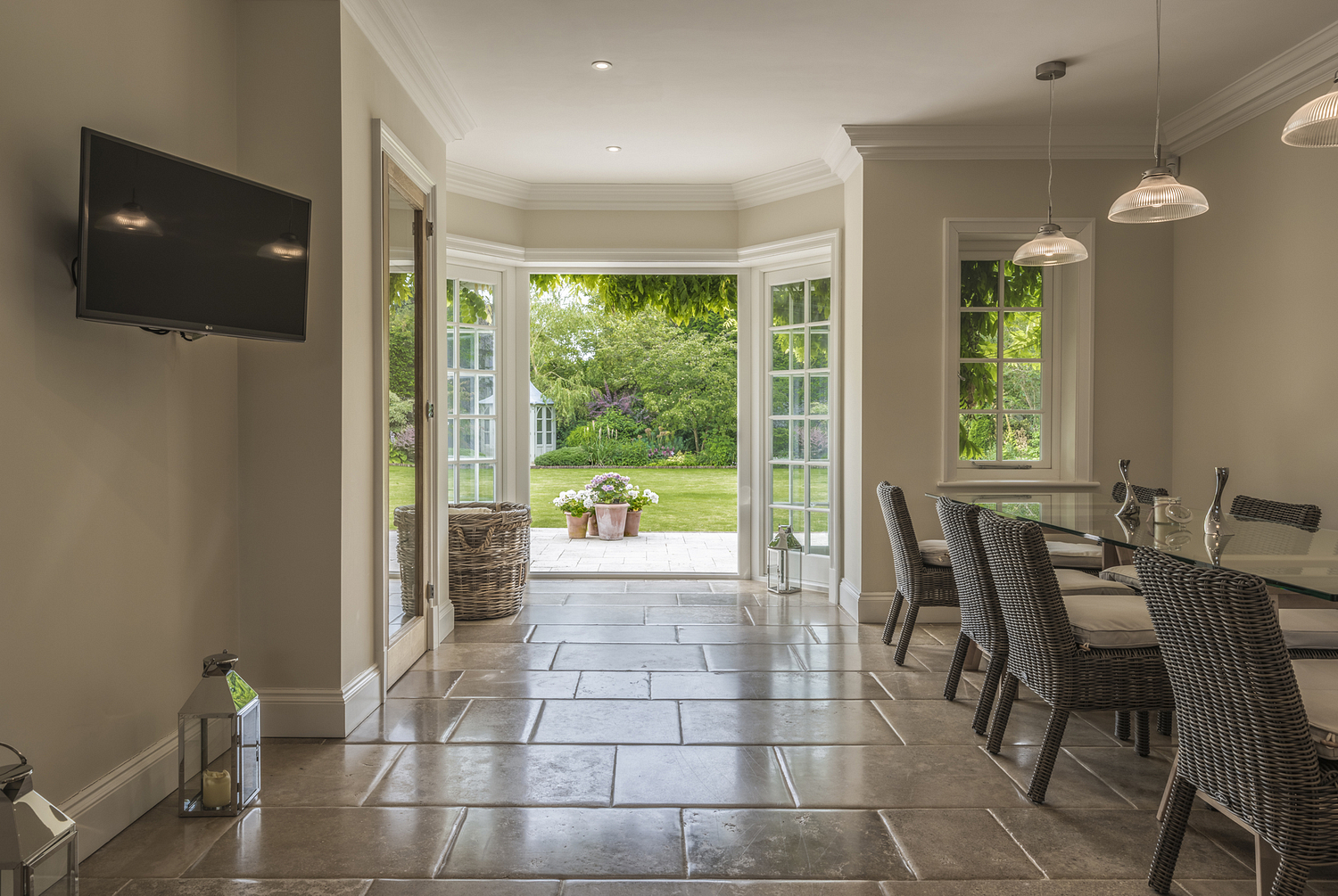 Dining room with stone floor, West Country house