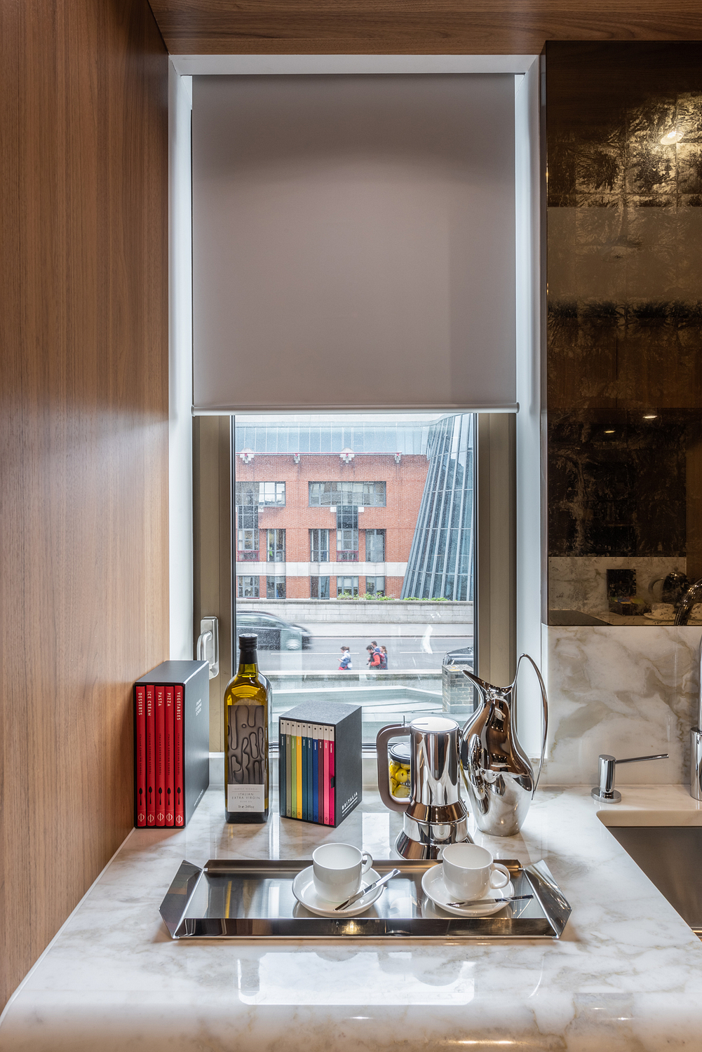 Kitchen detail with blind, London apartment