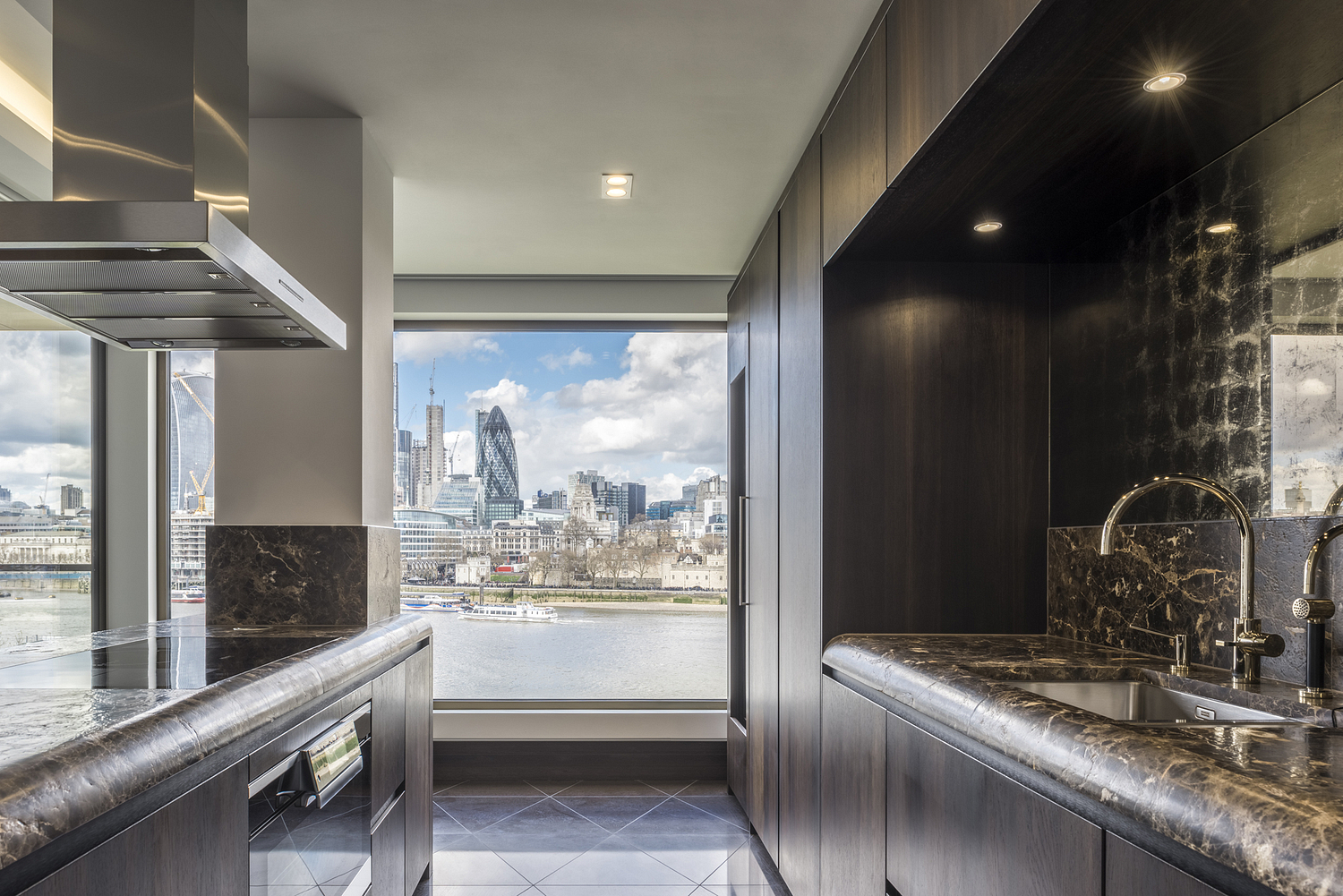Kitchen detail with view of London skyline