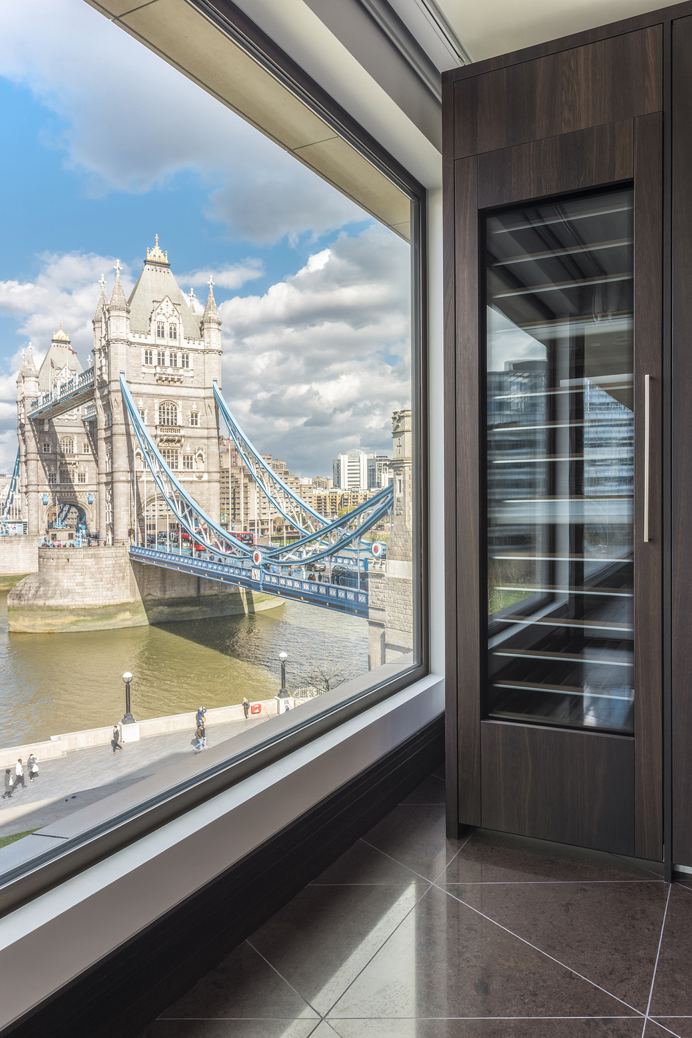 Kitchen detail with view of Tower Bridge, London