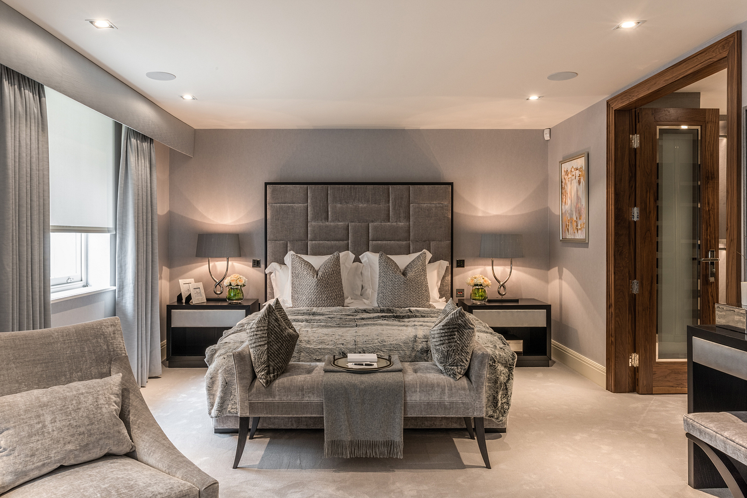 Bedroom with warm greys and wood, London house