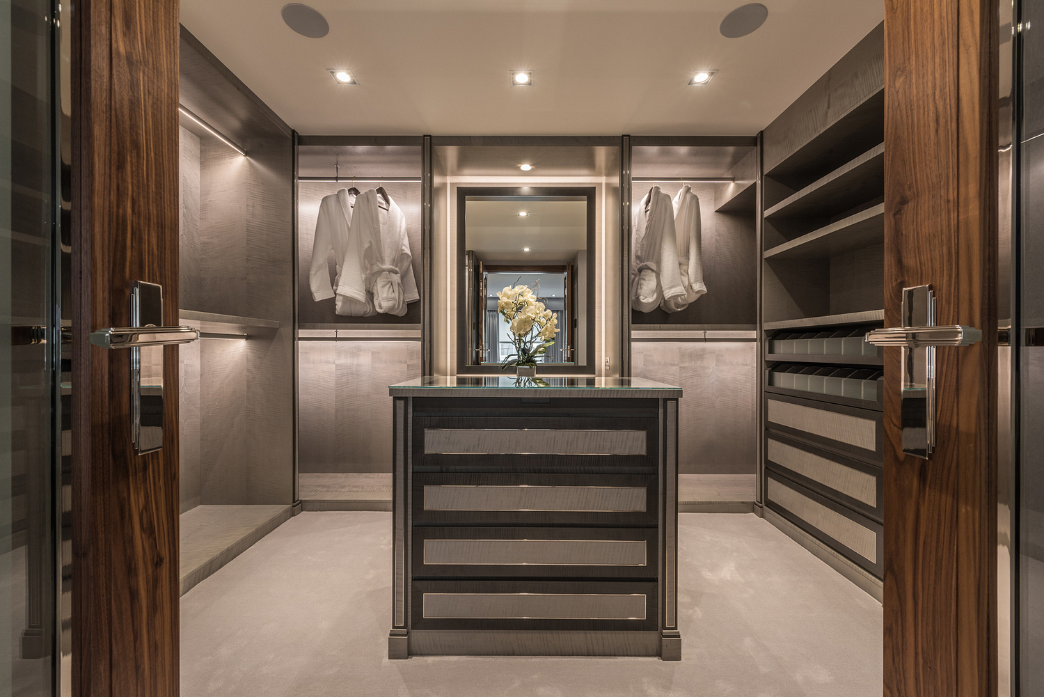 Dressing room with bespoke cabinetry, London
